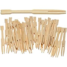 PREXWARE Bamboo Party Forks for Party Buffet Mini Forks 3.5 Inch 100 Ct.