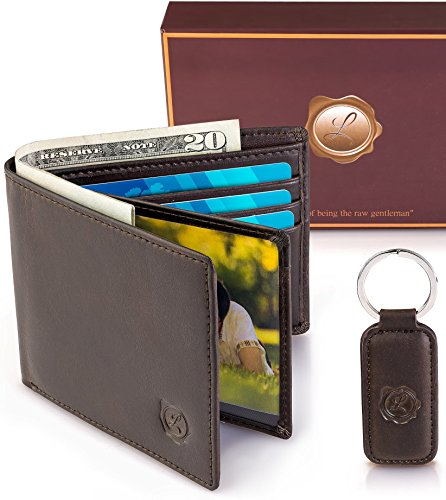 ld Wallets for Men | Brown Slim Wallet for Back & Front Pocket | Minimalist Holder for Credit Cards, ID's or All Size Cash | BONUS Full Grain Leather Keychain | Great as GlFT (Chain Front Leather)