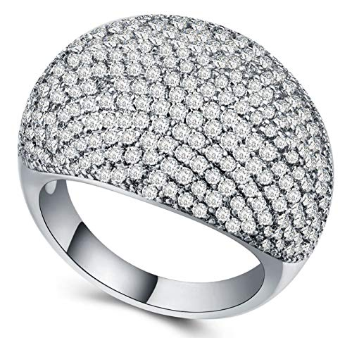 AJZYX Dome Rings Diamond Accent Full Pave Cubic Zirconia CZ Women Girls Wedding Bands Ring Sterling Silver Plated Size 10