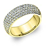 14K Yellow Gold Diamond 5-Row Band (1.0 cttw, F-G Color, VVS1-VVS2 Clarity)