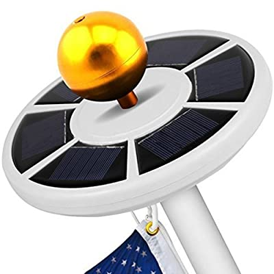 OWIKAR Solar Flagpole Light 26 LED Brightest Top Mounted Flags Pole Lights Solar Power Energy Saving Downlight Fits Most 15 to 25Ft Lawn Garden Flagpoles (White)