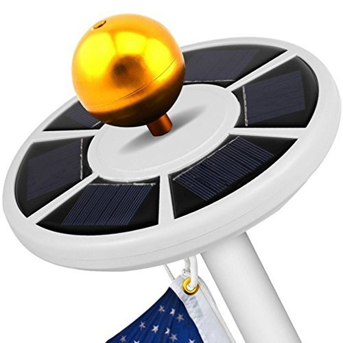 Solar Flagpole Light, Weatherproof 26 LED Solar Power Flag Pole Light, ICOCO Top Energy Saving Long-lasting Night Light (White)