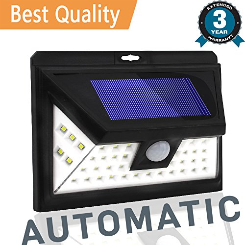Solar Lights Outdoor, Wireless Waterproof Motion Sensor Solar LED Wall Light,Super Bright Wide Lighting Angle (270 Degree), Easy Installation for Driveway,Patio,Yard,Garden (44 LEDs, 1PACK) - 270 Degree Motion Detector