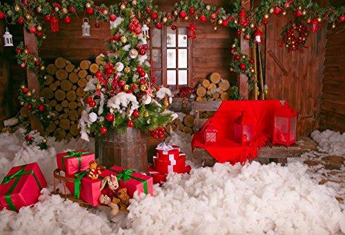 baociccoクリスマスEveレッドBaubleデコレーションギフトボックスホワイトコットンバックドロップ7 x 5ftコットンポリエステル写真Backgroud Cchristmasツリー薪Wooden House InteriorパーティーCelebratio   B07FS4N73W