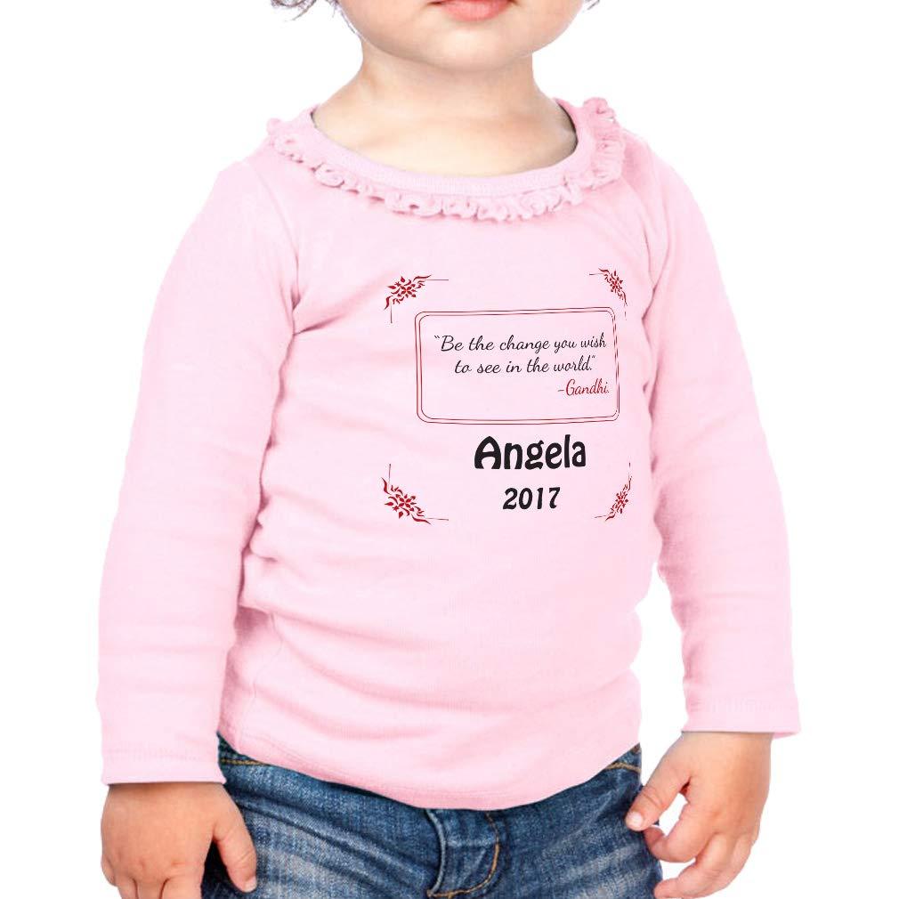 Custom The Change You Wish Cotton Girl Toddler Long Sleeve Ruffle Shirt Top