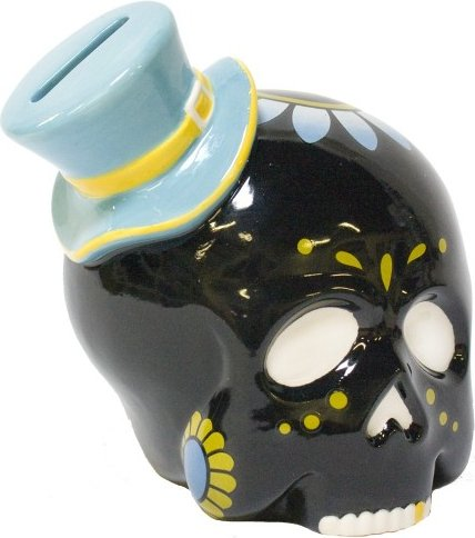Sourpuss Black Sugar Skull Bank from -