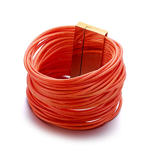 paris-orange-shredded-multi-starnd-vegan-leather-and-gold-tone-accented-cuff-bracelet