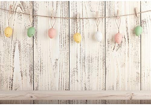 7x5ft Polyester Photography Backdrop Happy Easter Painted Eggs Bird Nest Rustic Wood Plank Grass Field Nature Spring Photo Background Children Baby Adults Portraits Backdrop