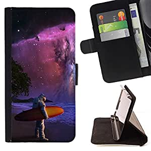 Momo Phone Case / Flip Funda de Cuero Case Cover - Espacio Astronauta Surf;;;;;;;; - Sony Xperia Z5 Compact Z5 Mini (Not for Normal Z5)