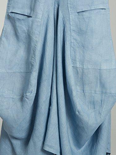 di Gonna RO018 Lino CASPAR Tasche Estiva Blu Lunga con Donna Jeans 1X67T