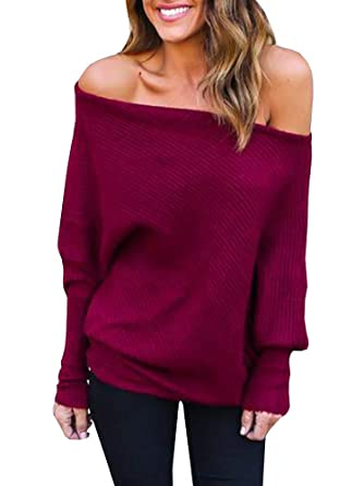 Mafulus Womens Off Shoulder Sweater Oversized Long Sleeve Loose Casual Knit  Pullover Sweaters Tunic Tops Burgundy 9dfaf21dc