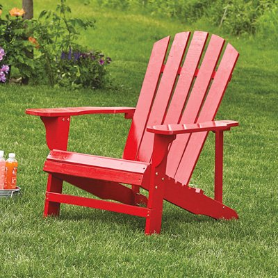 Leigh Country TX 94050 Adirondack Chair, Red - This chair features durable wood construction It is finished with weather-resistant red paint Our signature Adirondacks are made with pine and fir and feature a unique fanned plank pattern - patio-furniture, patio-chairs, patio - 51xvvnWre%2BL. SS400  -