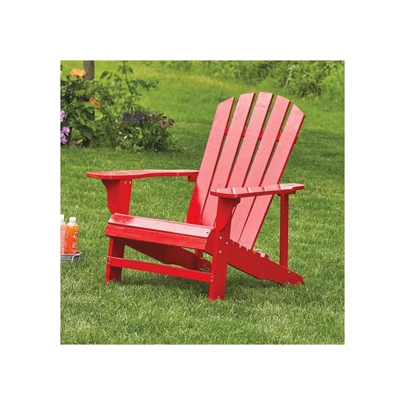 Leigh Country TX 94050 Adirondack Chair, Red - This chair features durable wood construction It is finished with weather-resistant red paint Our signature Adirondacks are made with pine and fir and feature a unique fanned plank pattern - patio-furniture, patio-chairs, patio - 51xvvnWre%2BL. SS570  -