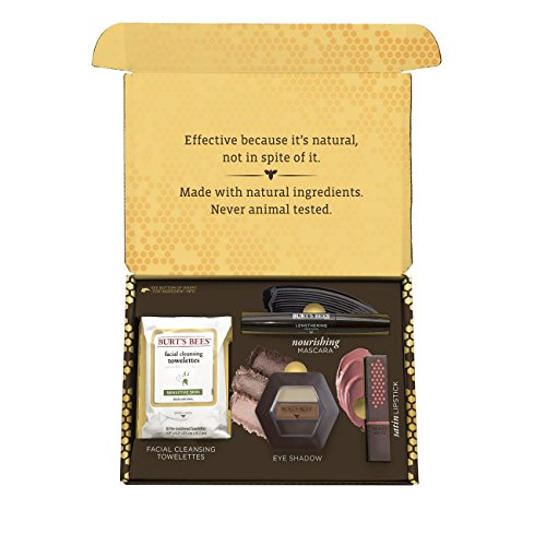Burt's Bees Natural Beauty Gift Set, 4 Products in Giftable Box – Eye Shadow Palette,  Mascara, Lip Stick and Facial Cleansing Towelettes