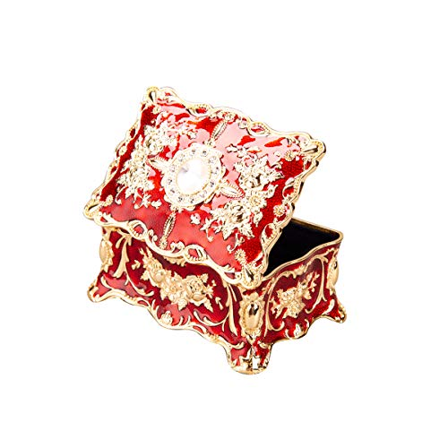 (Feyarl Vintage Trinket Box Rectangle Jewelry Box Wedding Ring Box Ornate Antique Finish Engraved with Dividers (Red) )