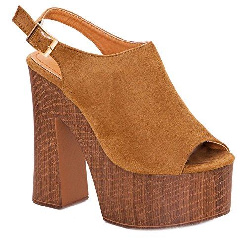 tacchi donna nuovi plateau sabot alti sandali Scarpe scamosciati Camel Toocool comodi DF3396 CxT1OW