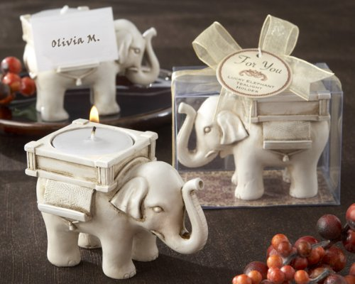 ''Lucky Elephant'' Antique Ivory-Finish Tea Light Holder - Baby Shower Gifts & Wedding Favors (Set of 48)