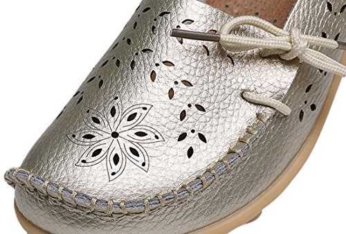 UJoowalk Frauen Leder Rindsleder aushöhlen Casual flache Fahr Schuhe Slipper Silbergelb