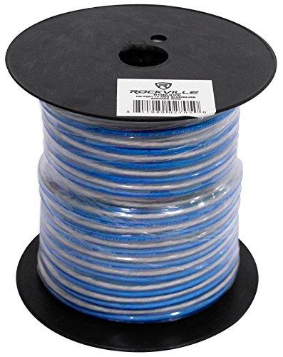 Rockville R14GBLS100 Silver/Blue 14 Gauge 100' Ft Spool Car Audio Speaker Wire (Silver 100ft Spool)