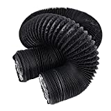 Hon&Guan 6 inch Air Duct - 16 FT Long, Black Flexible Ducting Air Hose For Grow Tents, Dryer Rooms,Kitchen Ventilation