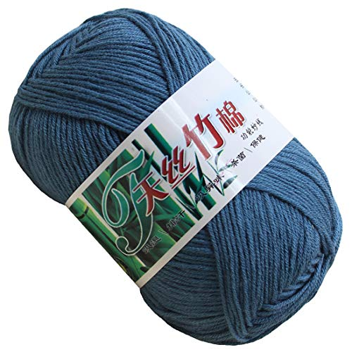 Set of 10 Skein Natural Select Soft Tencel Yarn 70% Bamboo + 30% Egyptian Cotton Crochet 50g Baby Knit Wool Yarn (Cowboy Blue 9030)