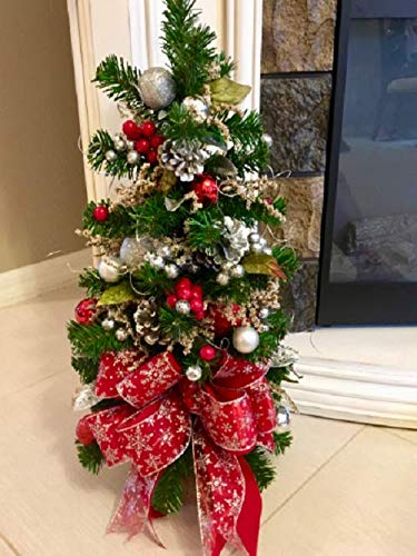 Fabulous Christmas Topiary Tree. Red and Silver Snow Flake Ribbon, 26 x 11 inches FREE SHIPPING