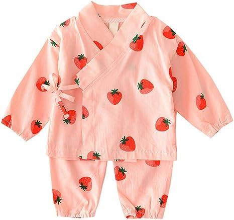Conjunto de pijama de algodón japonés con camisa de kimono y pantalón estampado de fresa para niños de 100 cm, color rosa, 1 juego: Amazon.es: Bebé