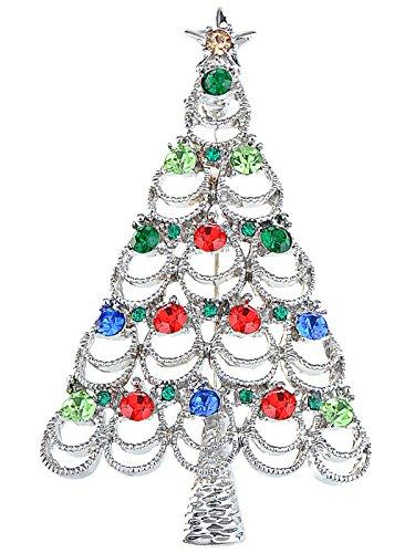 - Alilang Pretty Holiday Christmas Tree Crystal Rhinestone Red Blue Green Topaz Pin Brooch