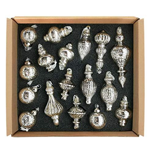 glasburg Mercury Glass Christmas Ornaments Antique Silver Size Small(17 Ornaments) (Mercury Set Glass)