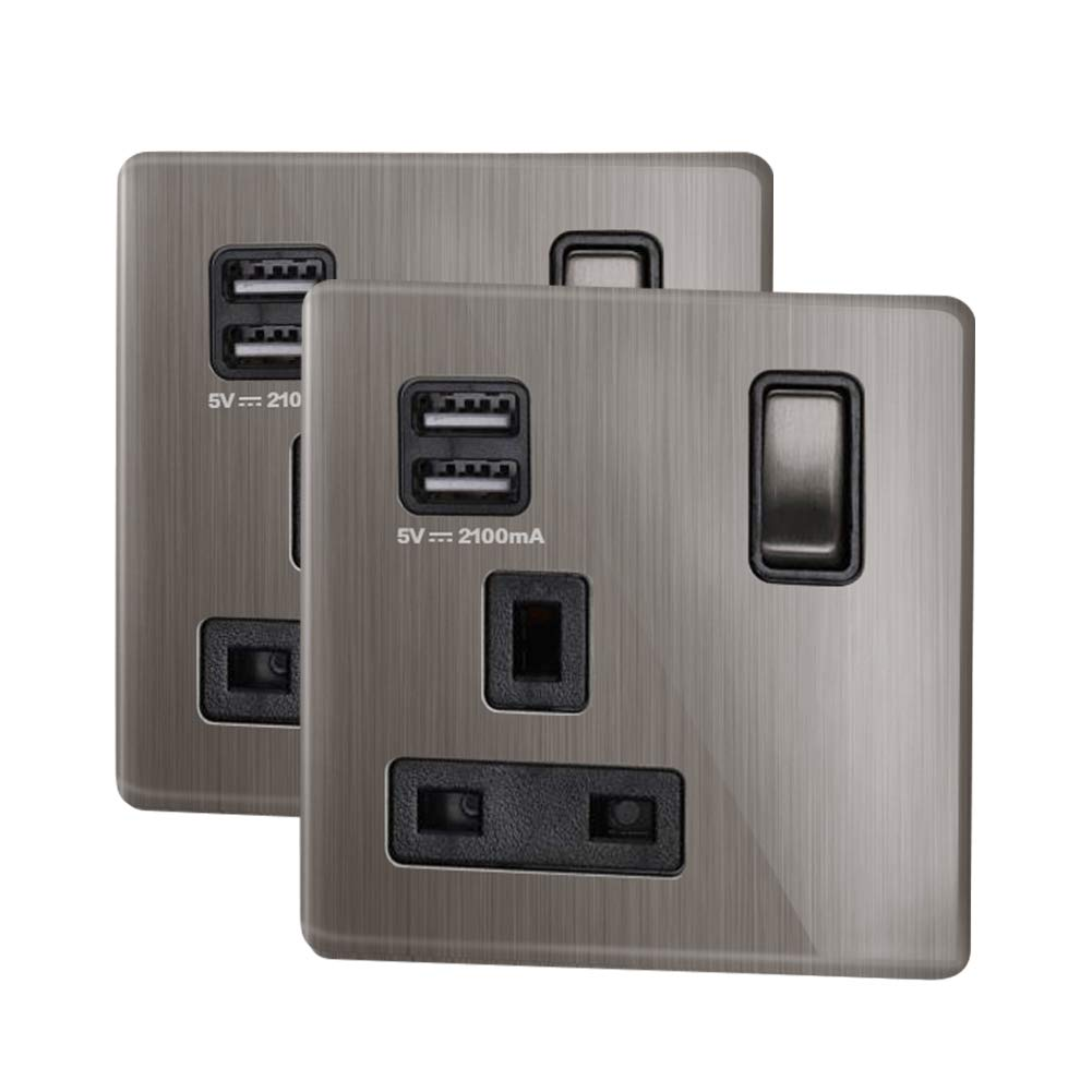 LIPWEL 2* Wall 2 Ways Electrical Outlets Double Switched Power Socket with USB