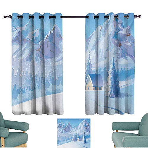 DONEECKL Bedroom Curtains 2 Panel Winter Little House Below The Majestic Mountains in The Winter Ice Blizzard Frozen Cold Weather Light Blocking Drapes with Liner W55 xL63 Blue ()