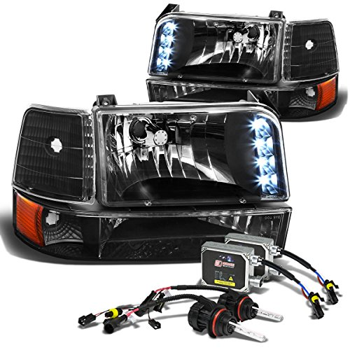 Ford F-Series/Bronco Pair of Black Amber Corner LED Headlight+8,000K 9007 Hi-Lo HIDs+Thick Ballasts