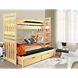 SAMBOR Children Triple Bunk Bed - Pine Wood Lacquered, Dimensions: 190cm x 87cm x 175cm (Ladder on the right) by Ye Perfect Choice