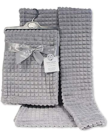 TOSKATOK Luxury Baby Boy Girl Soft Comforting Microfibre Corel Fleece Blankets for Moses Basket Cot Buggy and Travel-Grey-Cloud Bed