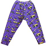 Purple Construction Trucks Children's Purple Leggings with Yellow Trucks