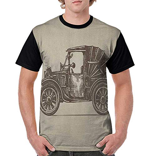 Wayne Convertible Well - Raglan Sleeve Baseball Tshirt,Cars,Classic Retro Car Design Early Prototypes of Automobile Semi Convertible Old School, Beige Sepia S-XXL Mens Short Sleeve Blouses