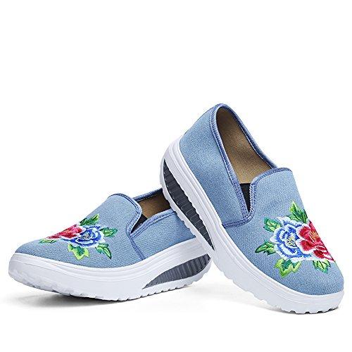 Enllerviid Donne Ricamo Tela Scarpe Da Passeggio Slip On Shape Tonificante Fitness Sneakers Blu Chiaro