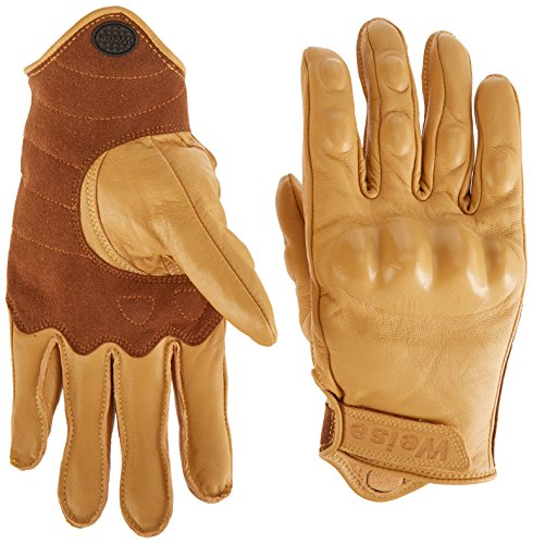 WEISE unisex-adult Leather Victory Motorcycle Glove(Tan,Medium)