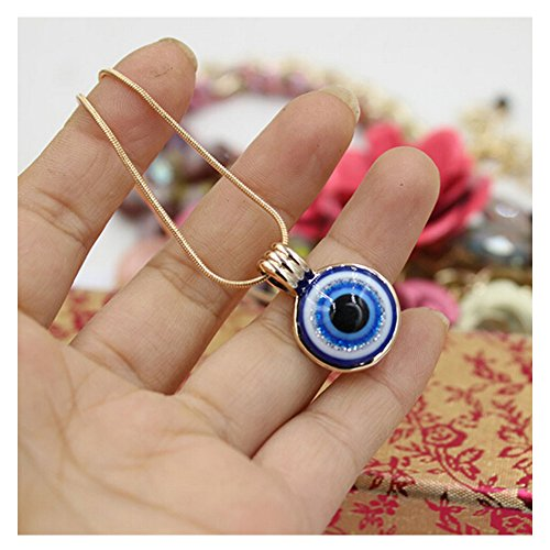 Elakaka Blue Evil Eye Pendant KC Gold Necklace