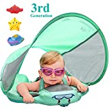 VQ-Ant Upgrade 3rd Generation Baby Solid Swimming Float No Need Inflatable Swimming Ring Swim Training Aid for Bathtub Pools Swim Trainer Swim Float with Sun Canopy Swim Ring with Sunshade(GreenC)