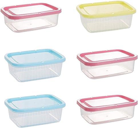 GLANGYU 6 Unids Mini Caja De Almacenamiento De Cajón De Frutas A Prueba De Fugas De Plástico Rectangular Sellado Caja Contenedor De Alimentos para Horno De Microondas (Color : Clear): Amazon.es: Hogar