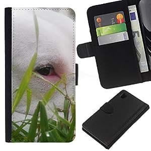 KLONGSHOP // Tirón de la caja Cartera de cuero con ranuras para tarjetas - Bullterrier lindo Hierba Perro Verano mascotas - Sony Xperia Z1 L39 //