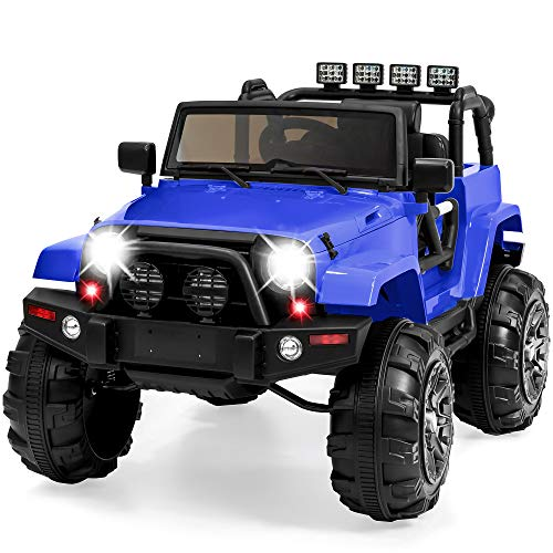 Best Choice Products 12V Kids Ride-On Truck Car w/ Remote Control, 3 Speeds, Spring Suspension, LED Lights, AUX - Blue