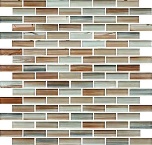 Sample - Sunset Beach Hand Painted Glass Mosaic Subway Tiles for Bathroom Walls or Kitchen Backsplash
