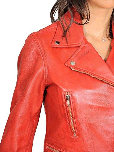 Mujer Cruz Cremallera Ajuste Delgado Motorista Estilo Real Cuero Chaqueta Nadine Rojo