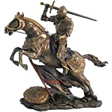 Mounted Knight Attacking Bronze Figurine by Veronese