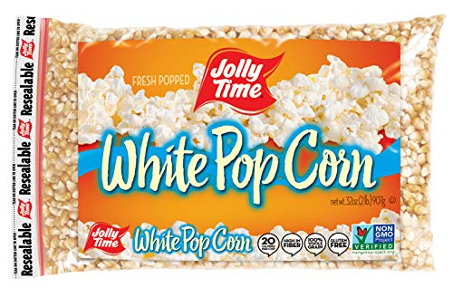 JOLLY TIME White Popcorn Kernels - Bulk Stovetop Natural Popping Corn, 2 lb. Bags (Pack of 12)