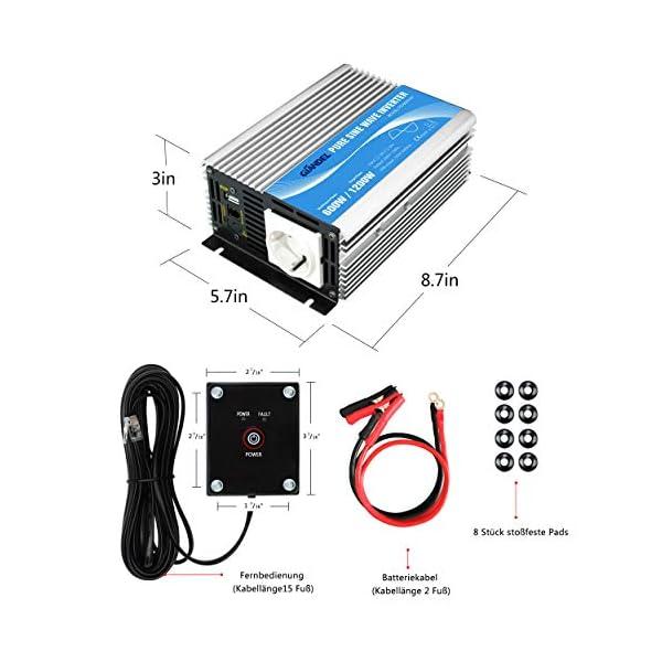600W Wechselrichter Reiner Sinus Spannungswandler 12V auf 230V Power Inverter mit Fernbedienung und USB-Anschluss für…