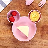 Orland Children Sub-Grid Tableware Bowl Cute Fruit Plate Cartoon Baby Boxes (Pink)