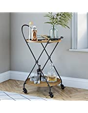 Nathan James 45302 Sage Retro, Mid-Century, Round, Rolling Bar or Serving Cart with 2-Tier Trays and Powder Coated Metal Finish, Warm Walnut/Black